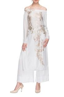 White embellished off shoulder kurta & palazzo