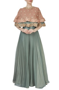 Sage green palazzo with a dusky pink cape