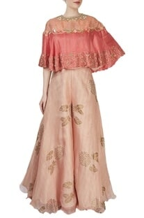 Light pink printed palazzo with a coral cape