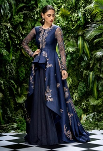 raw-silk-high-low-embroidered-jacket-with-lehenga