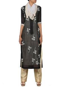 black-floral-embroidered-kurta-set-with-stole