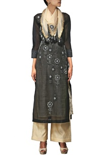 black-zardosi-embroidered-kurta-set-with-stole