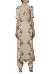 beige-floral-zardosi-embroidered-kurta-set-with-stole