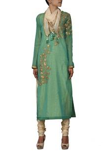 green-gota-embroidered-kurta-with-churidar-stole