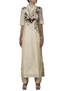 beige-embroidered-long-kurta-with-churidaar-stole