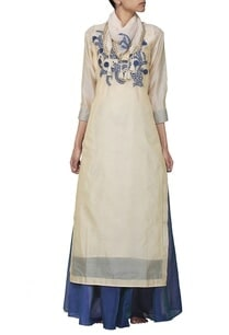 beige-embroidered-long-kurta-with-blue-skirt-stole