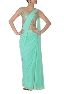 aqua-embroidered-sari-gown