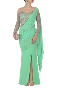 mint-green-embroidered-sari-gown