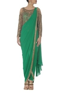 emerald-green-embroidered-dhoti-sari