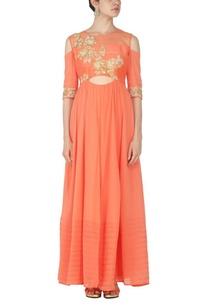 coral-pink-zardosi-embellished-kurta-set