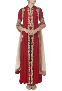 maroon-zardosi-embroidered-anarkali-with-matching-palazzos