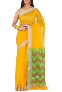 yellow-and-green-ziz-zag-chanderi-sari