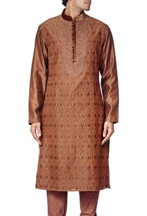 brown-embroidered-kurta-set
