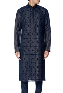 black-cotton-silk-embroidered-kurta-set