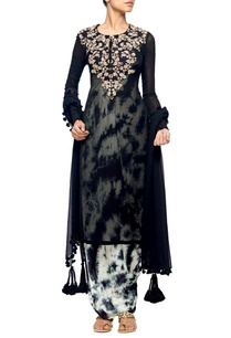 black-embroidered-kurta-with-tie-and-dye-jumpsuit