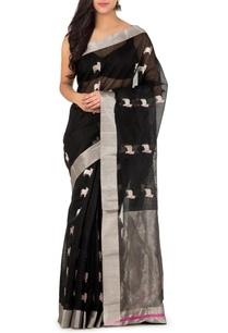 black-silver-nandi-chanderi-sari