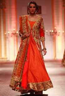 red-embroidered-jacket-with-orange-anarkali-dupatta