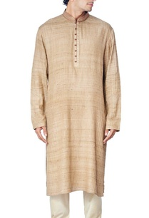 khaki-pleated-kurta-set