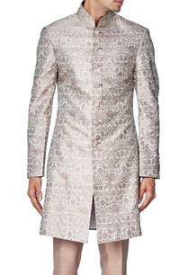 beige-brocade-silk-sherwani-with-raw-silk-churidar