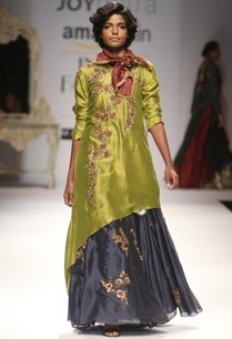 olive-asymmetrical-kurta-with-indigo-embroidered-skirt
