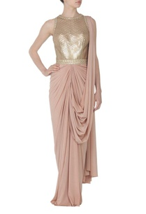 nude-faux-metal-embellished-sari-gown
