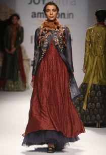 dark-grey-embroidered-jacket-with-maroon-ajrakh-anarkali