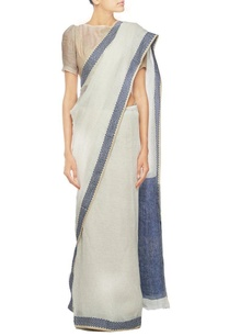 navy-blue-and-ivory-linen-sari
