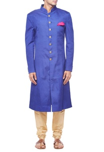 royal-blue-pintuck-sherwani