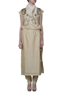 beige-sequin-embroidered-kurta-set-with-stole