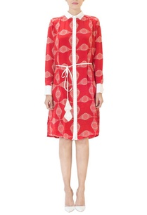 red-circle-printed-shirt-dress