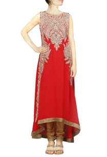 red-kasab-embroidered-kurta-set