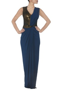 ink-blue-draped-faux-metal-maxi-dress
