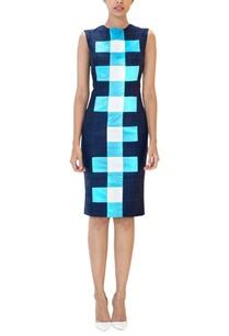 navy-blue-checked-sheath-dress