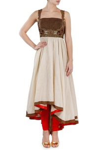 off-white-brown-and-red-embroidered-kurta-set