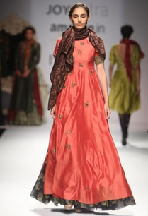 coral-bug-embroidered-anarkali-with-pritned-scarf