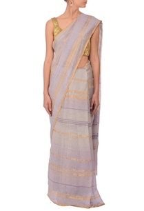 pale-grey-gold-zari-striped-linen-sari