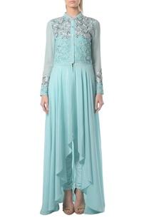 aqua-blue-embellished-kurta-set