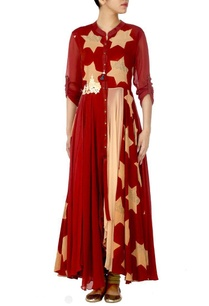 deep-red-and-beige-star-printed-dress