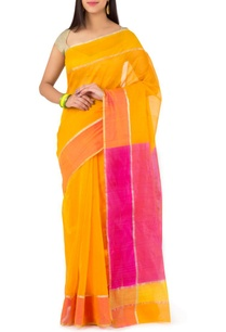 yellow-and-fuschia-chanderi-sari