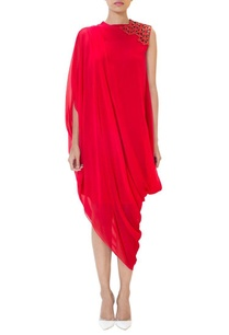 red-one-shoulder-draped-dress
