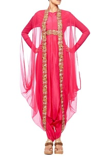 raani-pink-embroidered-dhoti-jumpsuit-with-raani-pink-net-coat