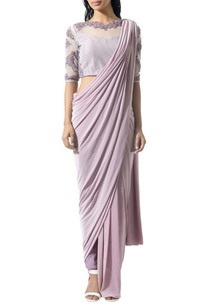mauve-beaded-sari-set