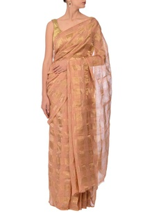 peach-gold-zari-checked-linen-sari