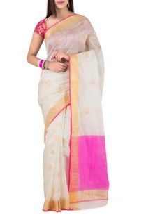 white-pink-peacock-chanderi-silk-sari