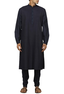 charcoal-blue-pleated-kurta-set