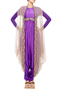 purple-embroidered-dhoti-jumpsuit-with-grey-net-coat