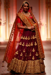 purple-embroidered-lehenga-set-with-pink-blouse-orange-dupatta