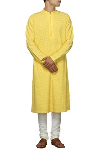canary-yellow-embroidered-kurta-set