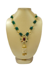 gold-plated-necklace-with-emerald%c2%a0-multi-colored-stone-pendant