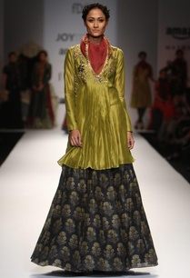 olive-embroidered-angrakha-kurta-with-indigo-printed-skirt